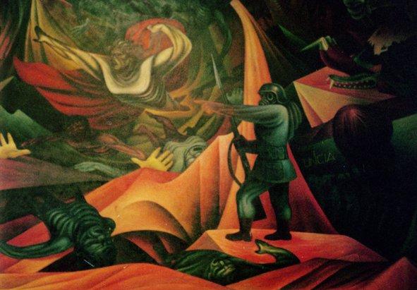 Detalhe de mural do artista Alejo Pantoja, que pintou a Revolução Boliviana de 1952