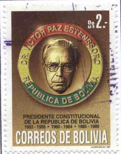 Selo boliviano em homenagem a Victor Paz Estenssoro
