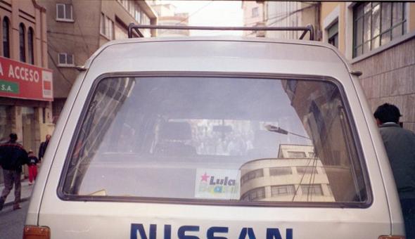 Carro boliviano com adesivo de Lula, em 1995/Foto Haroldo Ceravolo Sereza