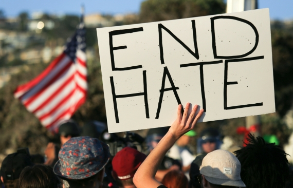 Trump supporters outnumbered by anti-fascist protesters in Southern California