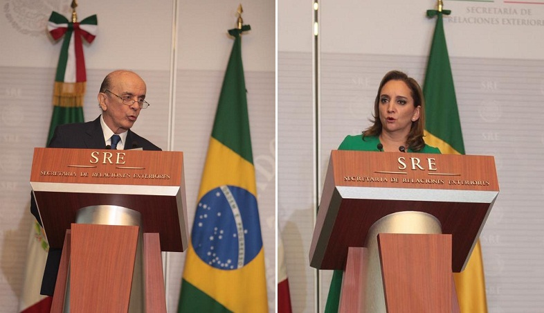 José Serra e Claudia Ruiz Massieu na última segunda-feira (25/07). Foto: Agência Efe