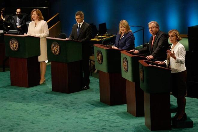 Candidatas e candidatos durante debate de postulantes ao cargo de secretário-[ou secretária-]geral da ONU, em julho. (Agência Efe)