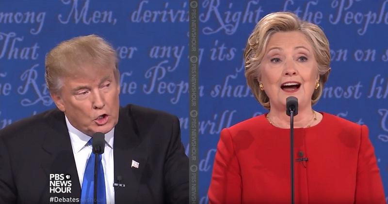 Trump tentanto atropelar Hillary. Não passarão!