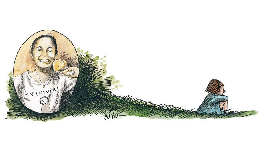 Ilustração do cartunista argentino Liniers em homenagem a Micaela García